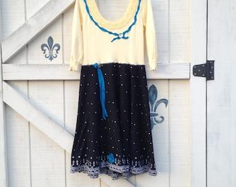 Yellow rustic dress S, boho chic dress, yellow black beaded, romantic dress, upcycled clothing Shaby Vintage