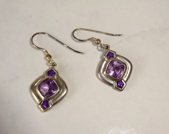 Vintage Sterling Silver Amethyst Earrings Dangle Earrings