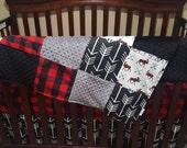 Baby Boy Crib Bedding - Moose, Bear, Black Arrow, Red Black Buffalo Check , and Black Minky Crib Baby Bedding Ensemble