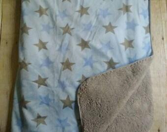 Custom Personalized Baby Blanket Blue Stars
