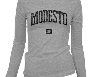 Women's Modesto 209 California Long Sleeve Tee - S M L XL 2x - Ladies' T-shirt, Gift For Her, Modesto Shirt, West Coast, Surfing, City Shirt