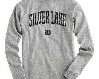 LS Silver Lake Los Angeles Tee - Long Sleeve T-shirt - Men S M L XL 2x 3x 4x - Gift for Men, Silver Lake Shirt, LA Shirt, Indie Rock Music