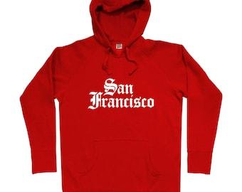 San Francisco Gothic Hoodie - Men S M L XL 2x 3x - Gift For Men, Gift for Her, San Francisco Hoodie, Gothic Text, Baseball Hoodie, Football