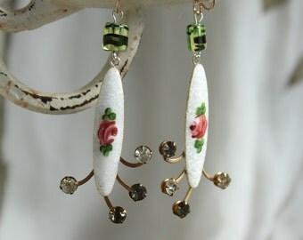 Antique  Rhinestone assemblage earrings, antique rhinestones, enamel roses, bling, wedding vintage jewelry rosettes