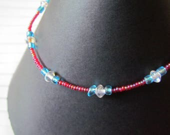 Glass Bead Anklet - Raspberry Red, Sapphire and Crystal
