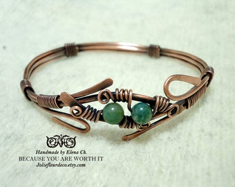 Adjustable Copper or sterling silver bracelet  Green Agate Copper wire bracelet Copper bangle bracelet Wire wrapped jewelry Antique silver