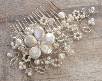 Antique Lace Hair Comb, Floral Headpiece Lace Inspired Bridal Headdress Ivory Pearl Clear Crystal