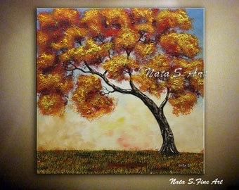 Original Fall Tree Painting, Abstract Textured Painting, Modern Autumn Old Tree Artwork, Colorful Fall Tree Art, Ready to Hang  by Nata S.