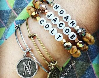 CUSTOM ~ Metallic Swarovski Crystal + Beach Wood + Horn Heart Bracelet