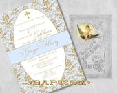 Blue and Gold Baptism Invitations for a Baby Boy, Christening or Dedication Invites - Elegant Damask - Custom Printed Baby Boy Baptism