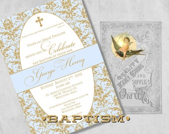 Blue and Gold Baptism Invitations for a Baby Boy, Christening or Dedication Invites - Elegant Damask - Custom Printed Baby Boy Baptism