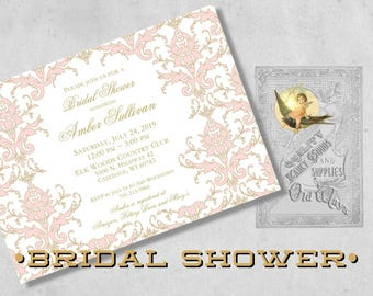 Damask Bridal Shower Invitations in Pink and Gold - Elegant Custom Printed Bridal Shower Invitations with Envelopes - White or Cream