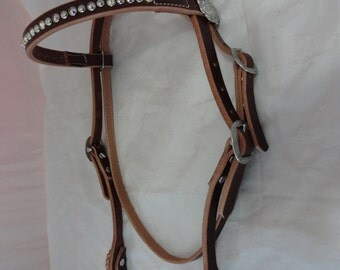 Swarovski Crystals Spotted Hermann Oak Rich Brown Bridle Leather Headstall Browband Horse Jeremiah Watt Conchos West Coast Tack