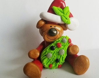 Polymer clay Christmas Ornament, Teddy Bear ,  2017 keepsake, handmade gift, debbies clay babies, gift for teacher