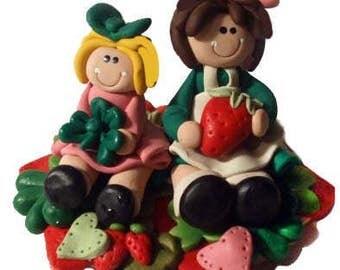 Birthday Cake topper, custom cake topper design, birthday cake , custom design doll, clay flowers and polymer clay dolls