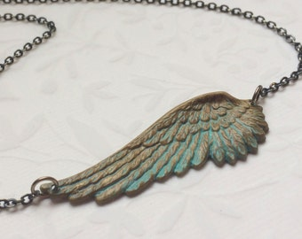 Angel Wing Necklace-Angel Wing Jewelry, PATINA SIDEWAYS WING, Verdigris Angel Wing Jewelry, Sideways Necklace, Guardian Angel Jewelry, GIft