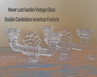 Fostoria AMERICAN Double Glass Candlesticks Vintage