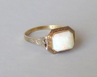 Antique Opal Ring. Gumdrop Stone. White and Yellow Gold. Egyptian Revival Lotus. 5.25