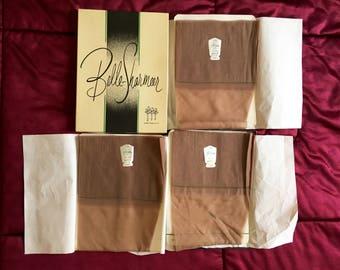 3 PAIRS VTG Nylon Stockings Belle Sharmeer Modite Sheer Seamless 8.5 Taupe NEW