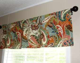 """Richloom Jewel Paisley Designer Valance 50"""" wide x 16"""" long cream, brown, orange, red, pink, seafoam and shades of blue and green"""