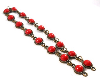 Burnished Brass Chain, Red Acrylic Cabochons, Connector Findings, Heavy Duty 12 Inches Long, Craft Supply Chain, Jewelry Making Chain