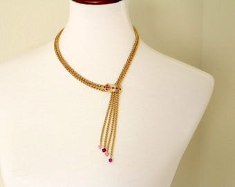 JBK Jackie Kennedy Lariat  Pink ecklace # 970