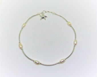 Starfish Anklet Starfish Ankle Bracelet White Pearl Anklet Starfish Bracelet Silver Beach Jewelry Anklet Silver Anklet BuyAny3+Get1Free