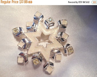 50% OFF SALE Christopher Radko Snowflake in Silver and White Holiday Brooch