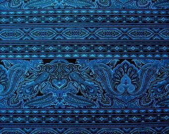 Bordering on Brilliance Border Print in Deep Blue w Green / a Jinny Beyer Fabric from RJR