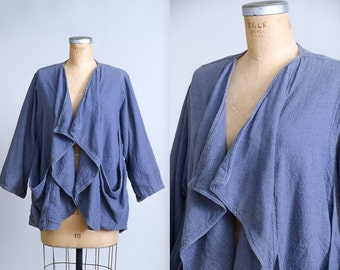 80s Indian Cotton Oversized Festival Jacket Avant Garde Oversized Drape Jacket