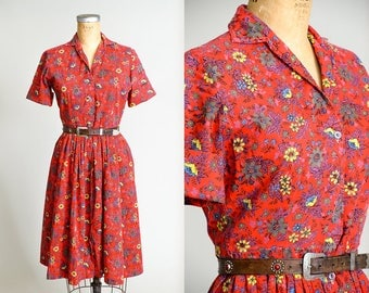 1950s Cotton House Dress Red Floral Button Down Day Dress