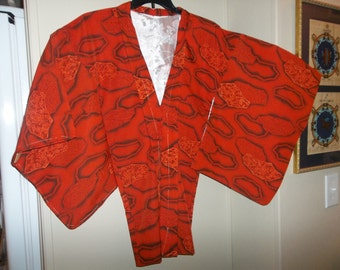 Vintage Japanese Silk Wedding Kimono..Dark Orange Karakusa Flower in Window..New Old Stock..1970Era..Perfect Condition