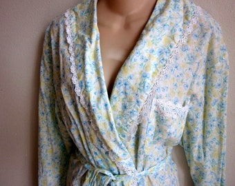 SALE Short robe wrap cotton floral cozy soft Eileen West   M