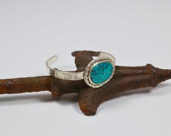 Cuff Bracelet - Turquoise and Sterling Silver Cuff - Boho Cuff Bracelet