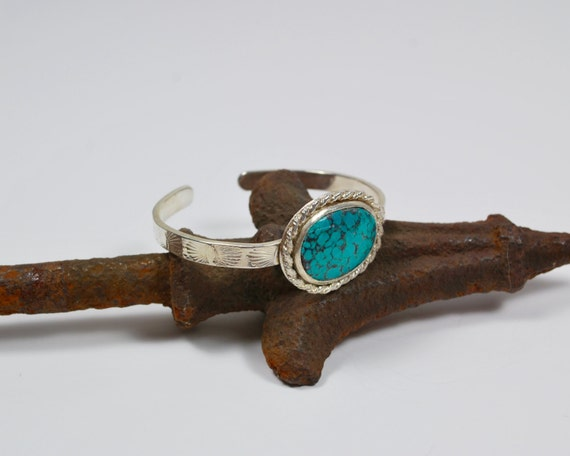 Cuff Bracelet - Turquoise and Sterling Silver Cuff - Boho Cuff Bracelet