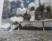 Vintage Snapshot Photo - Lady Posing with English Sheep Dog