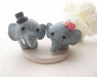 Custom Love Wedding Cake Toppers - Elephant with base