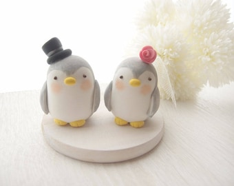 Custom Love Wedding Cake Toppers -  Penguin with base