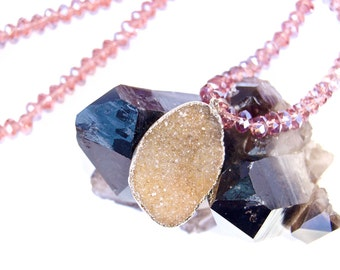 """ON SALE-Druzy- Druze-Amethyst-Mineral Necklace- with Crystal Beads- and """"Easy Clasp"""""""