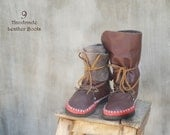 SALE-40%OFF!! Leather Boots for Women Brown Red Moccasin/Long Medium Short