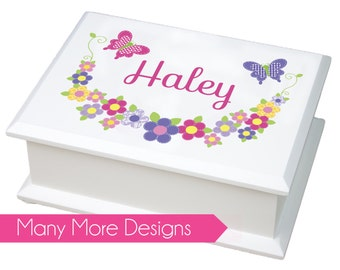 Personalized Jewelry Box - white girls jewelry box with owl, flowers, butterflies and other custom designs - 1st Holy Communion Gift- JEWEB