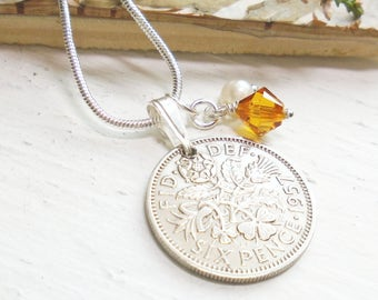 60th Birthday Gift for Women, 1957 Lucky Sixpence Necklace. 60th Anniversary, Topaz, November Birthstone, Mothers Day
