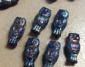 ON SALE Czech Owl Bead 15mm X 7mm Blue Iris 1 Strand