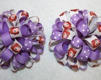 Sophia the first loopy puff bow SET OF 2