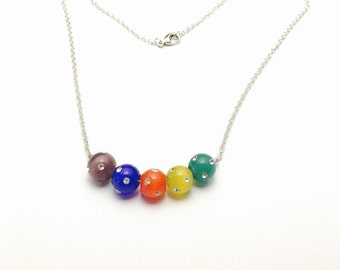 Chakra Pendant, Silver Tone, Matching Necklace,  Multicolor Beads, Clearance Sale, Item No. B390