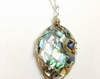 Vintage Abalone pendant/Necklace , Silver/Silver plated, item No. B810