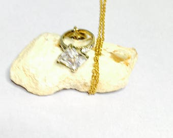 Cocktail Ring Pendant, vintage 24K Gold Over Sterling, Clear CZ, Stamped .925, Clearance Sale, Item No. S185c