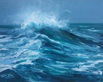 "Original 8"" x 10"" oil painting, dramatic stormy seascape, wave, surf art, blue water, oceanscape, representational fine art."