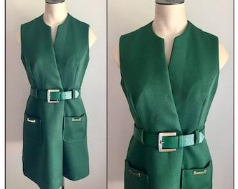 Vintage 1960s Misses' Emerald Green Polyester Sleeveless Dress XS 0 2