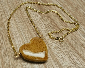 STONE HEART ceramic heart bead goldplated chain necklace jewelry